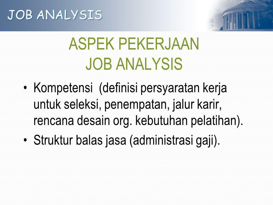 JOB ANALYSIS ASPEK PEKERJAAN JOB ANALYSIS Kompetensi (definisi persyaratan kerja untuk seleksi, penempatan, jalur karir, rencana desain org. kebutuhan