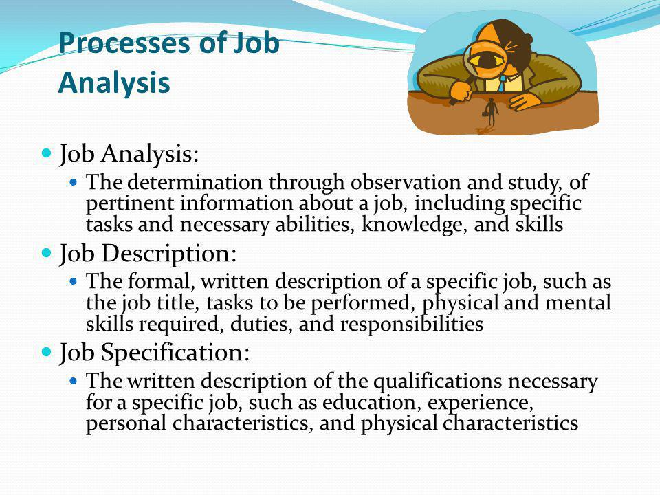 Processes of Job Analysis Job Analysis: The determination through observation and study, of pertinent information about a job, including specific tasks and necessary abilities, knowledge, and skills Job Description: The formal, written description of a specific job, such as the job title, tasks to be performed, physical and mental skills required, duties, and responsibilities Job Specification: The written description of the qualifications necessary for a specific job, such as education, experience, personal characteristics, and physical characteristics