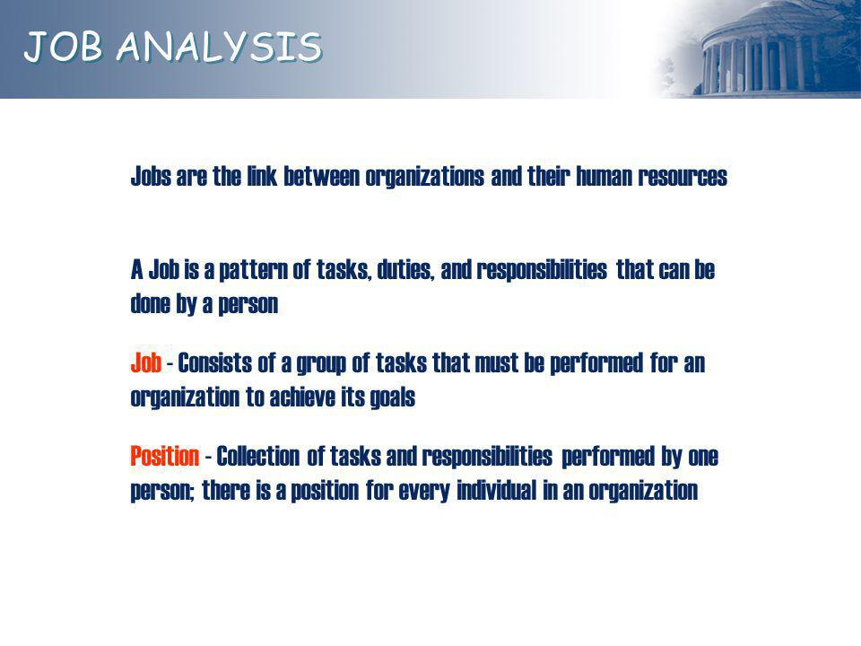 JOB ANALYSIS What is a job.