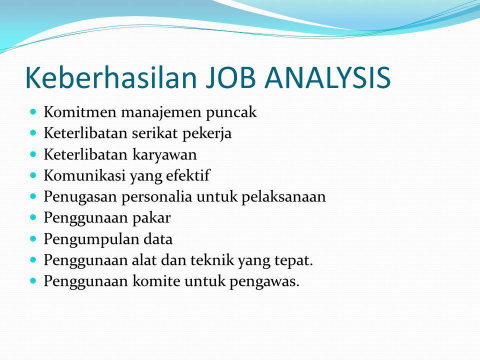 Keberhasilan JOB ANALYSIS Komitmen manajemen puncak Keterlibatan serikat pekerja Keterlibatan karyawan Komunikasi yang efektif Penugasan personalia un