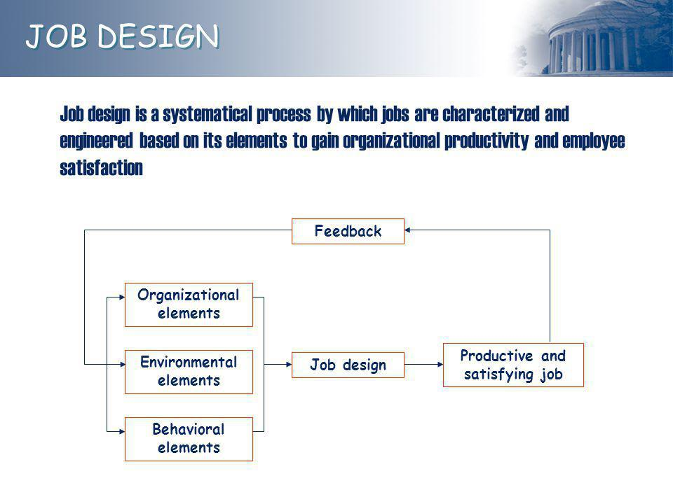 Job design is a systematical process by which jobs are characterized and engineered based on its elements to gain organizational productivity and employee satisfaction Organizational elements Environmental elements Behavioral elements Job designProductive and satisfying job Feedback JOB DESIGN
