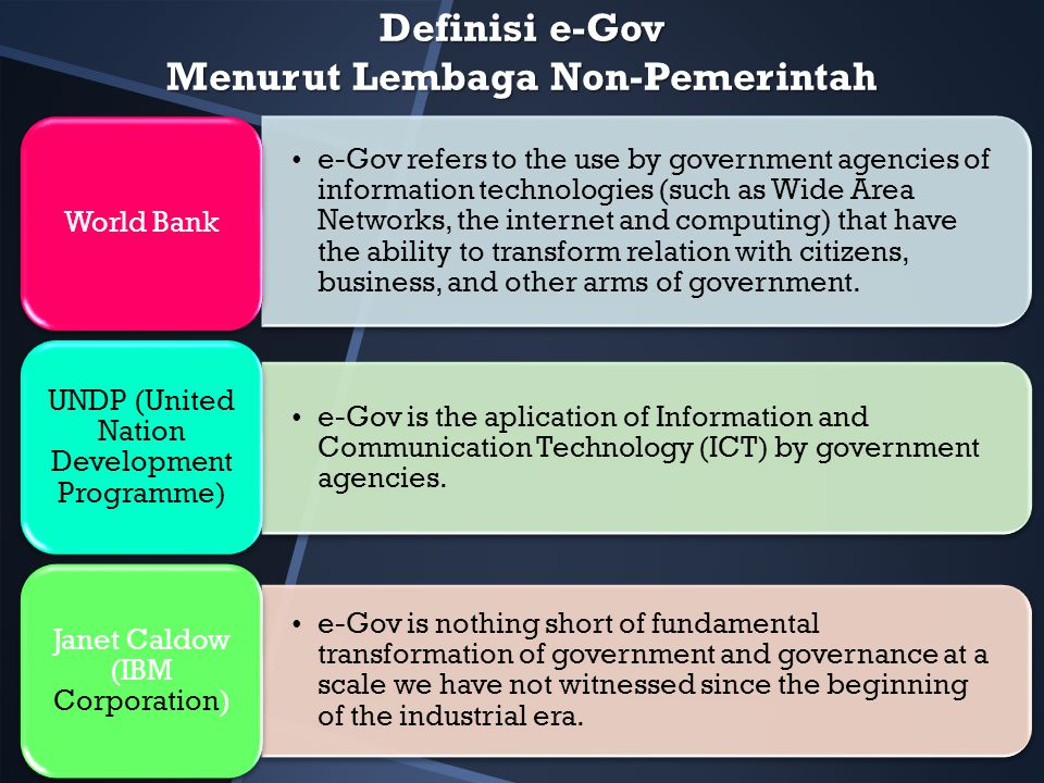 Definisi e-Gov Menurut Lembaga Non-Pemerintah e-Gov refers to the use by government agencies of information technologies (such as Wide Area Networks,