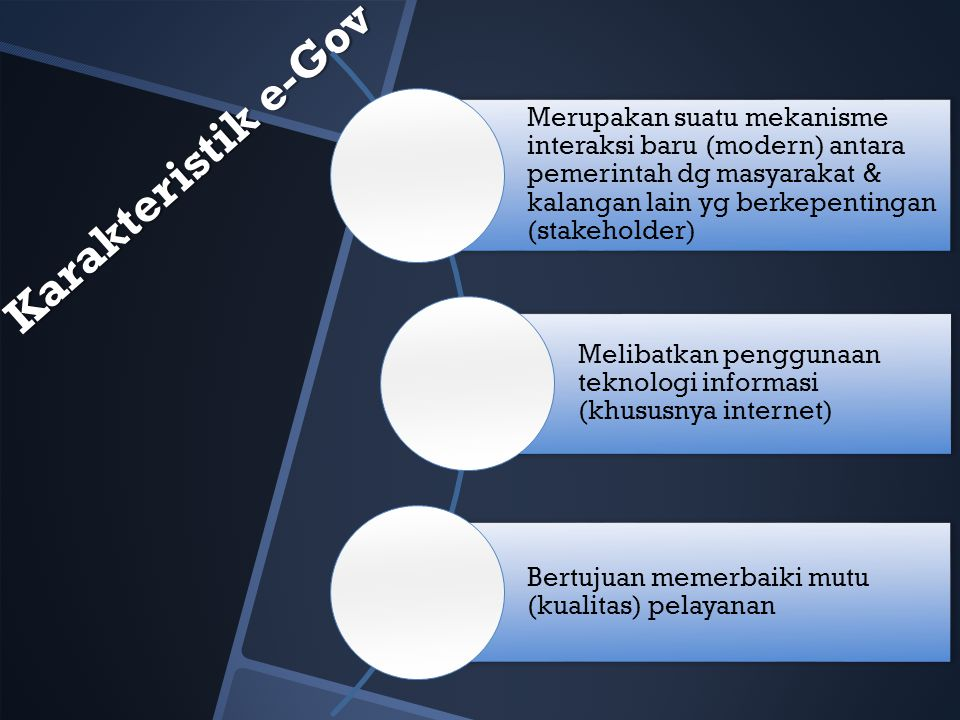 Karakteristik e-Gov Merupakan suatu mekanisme interaksi baru (modern) antara pemerintah dg masyarakat & kalangan lain yg berkepentingan (stakeholder) Melibatkan penggunaan teknologi informasi (khususnya internet) Bertujuan memerbaiki mutu (kualitas) pelayanan