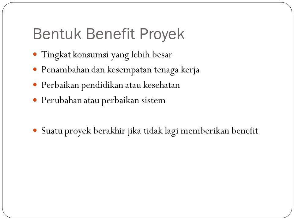 Bentuk Benefit Proyek Tingkat konsumsi yang lebih besar Penambahan dan kesempatan tenaga kerja Perbaikan pendidikan atau kesehatan Perubahan atau perb