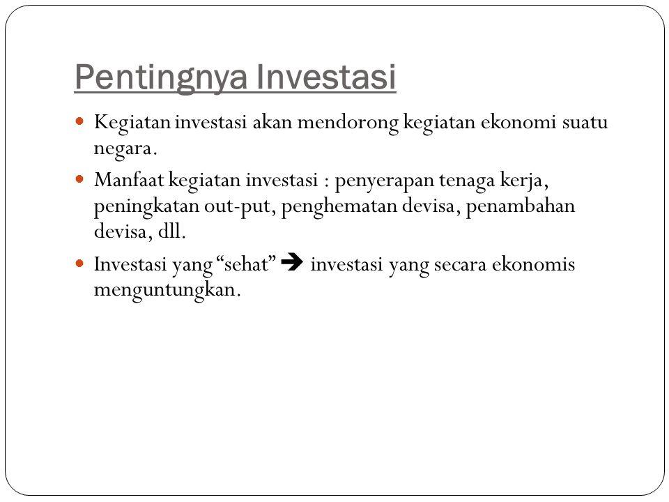 Pentingnya Investasi Kegiatan investasi akan mendorong kegiatan ekonomi suatu negara. Manfaat kegiatan investasi : penyerapan tenaga kerja, peningkata