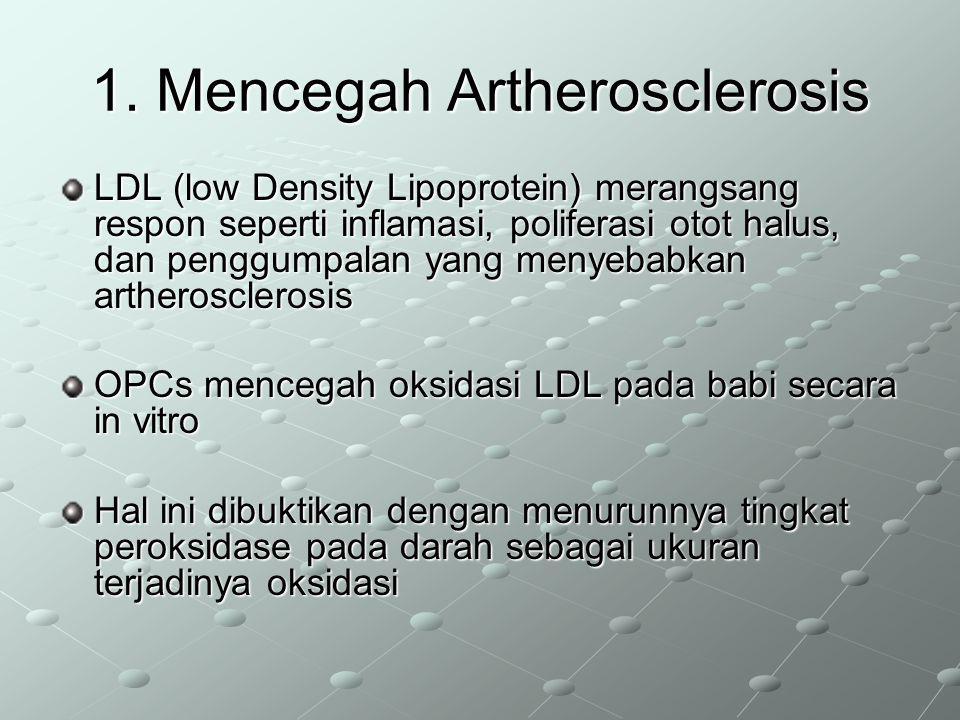 1. Mencegah Artherosclerosis LDL (low Density Lipoprotein) merangsang respon seperti inflamasi, poliferasi otot halus, dan penggumpalan yang menyebabk