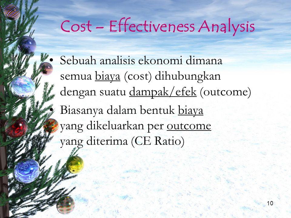 10 Cost – Effectiveness Analysis Sebuah analisis ekonomi dimana semua biaya (cost) dihubungkan dengan suatu dampak/efek (outcome) Biasanya dalam bentu