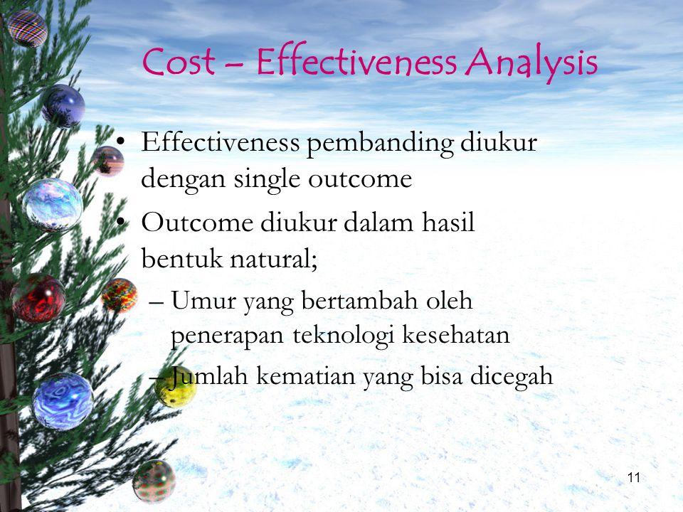 11 Cost – Effectiveness Analysis Effectiveness pembanding diukur dengan single outcome Outcome diukur dalam hasil bentuk natural; –Umur yang bertambah