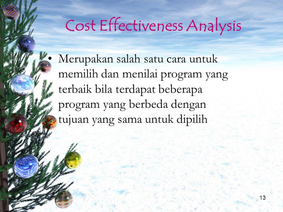 13 Cost Effectiveness Analysis Merupakan salah satu cara untuk memilih dan menilai program yang terbaik bila terdapat beberapa program yang berbeda de