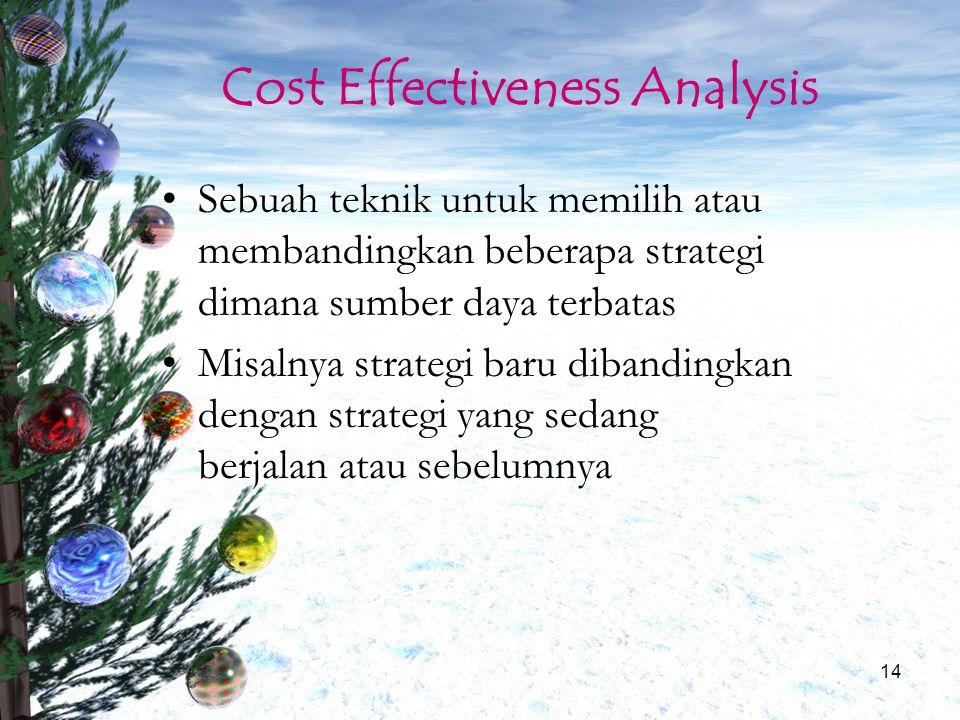 14 Cost Effectiveness Analysis Sebuah teknik untuk memilih atau membandingkan beberapa strategi dimana sumber daya terbatas Misalnya strategi baru dib