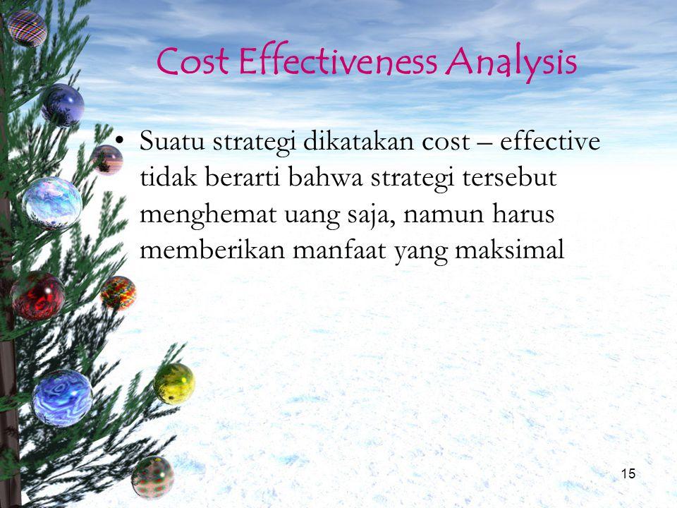 15 Cost Effectiveness Analysis Suatu strategi dikatakan cost – effective tidak berarti bahwa strategi tersebut menghemat uang saja, namun harus member
