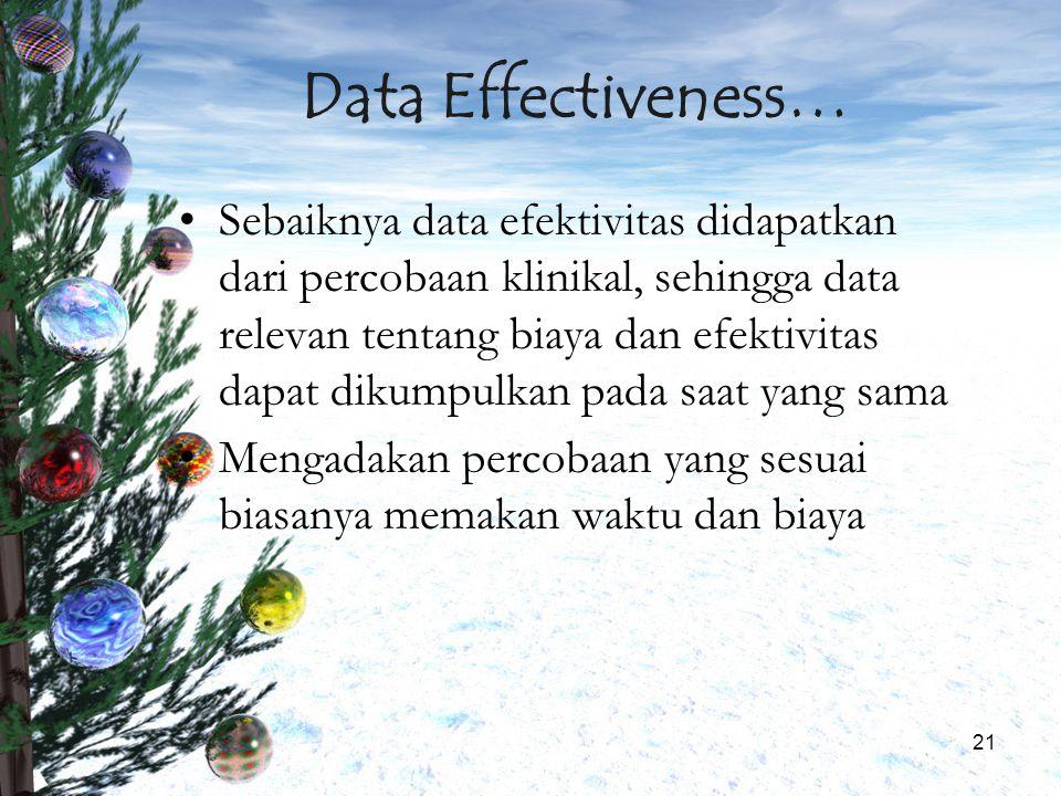 21 Data Effectiveness… Sebaiknya data efektivitas didapatkan dari percobaan klinikal, sehingga data relevan tentang biaya dan efektivitas dapat dikump