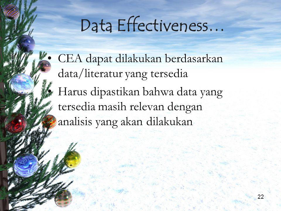 22 Data Effectiveness… CEA dapat dilakukan berdasarkan data/literatur yang tersedia Harus dipastikan bahwa data yang tersedia masih relevan dengan ana