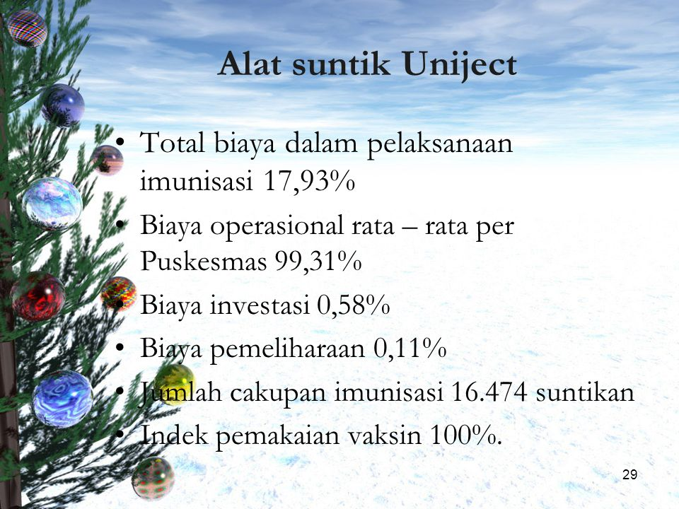29 Alat suntik Uniject Total biaya dalam pelaksanaan imunisasi 17,93% Biaya operasional rata – rata per Puskesmas 99,31% Biaya investasi 0,58% Biaya p