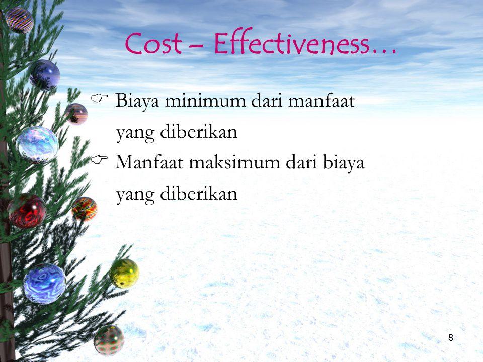9 Cost – Effectiveness…  Intervensi mana yang dapat mencapai hasil yang telah ditargetkan dengan biaya paling rendah  Intervensi mana yang dapat mencapai hasil yang paling menguntungkan dengan alokasi biaya yang telah ditetapkan
