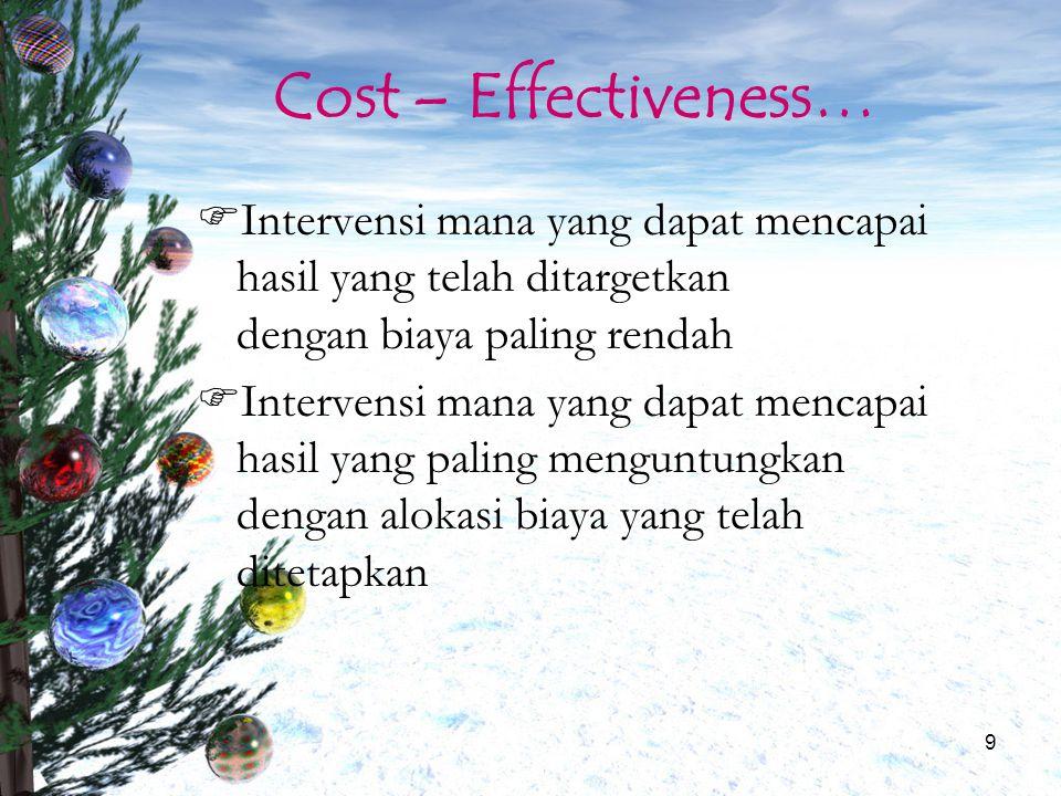10 Cost – Effectiveness Analysis Sebuah analisis ekonomi dimana semua biaya (cost) dihubungkan dengan suatu dampak/efek (outcome) Biasanya dalam bentuk biaya yang dikeluarkan per outcome yang diterima (CE Ratio)