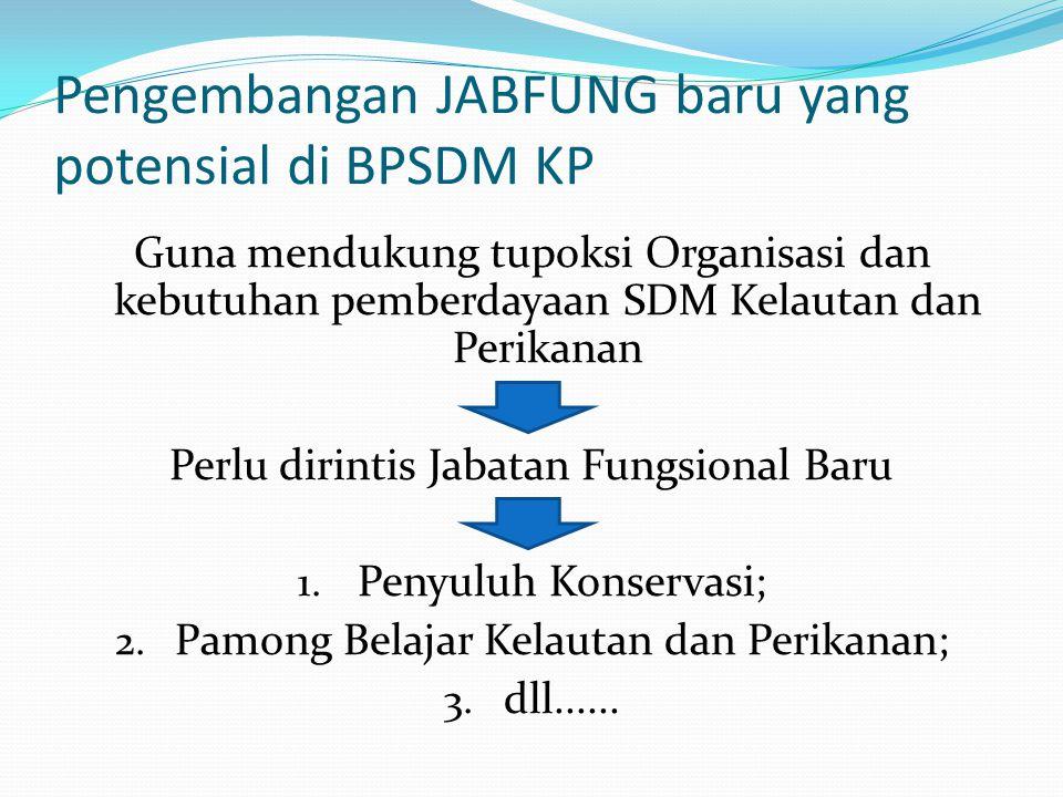 Pengembangan JABFUNG baru yang potensial di BPSDM KP Guna mendukung tupoksi Organisasi dan kebutuhan pemberdayaan SDM Kelautan dan Perikanan Perlu dir