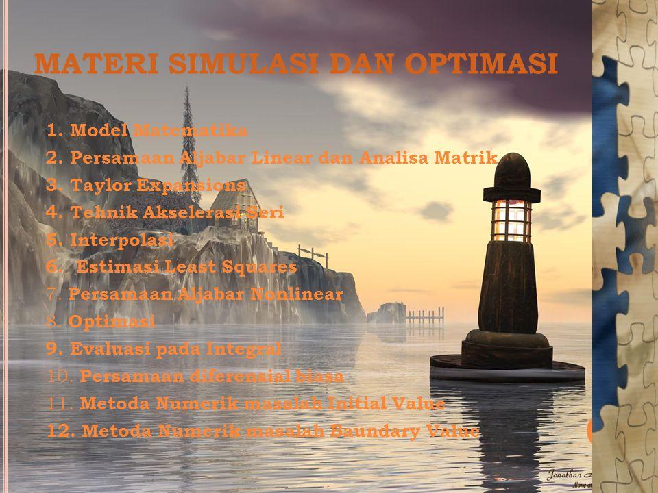 MATERI SIMULASI DAN OPTIMASI 1. Model Matematika 2.