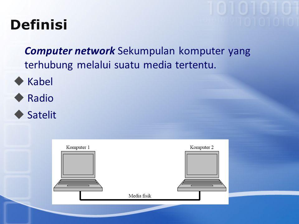 Definisi Computer network Sekumpulan komputer yang terhubung melalui suatu media tertentu.  Kabel  Radio  Satelit