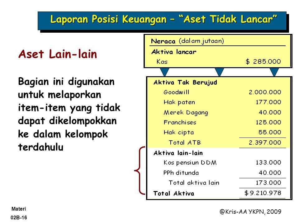 Materi 02B-16 @Kris-AA YKPN, 2009 Aset Lain-lain Bagian ini digunakan untuk melaporkan item-item yang tidak dapat dikelompokkan ke dalam kelompok terdahulu Laporan Posisi Keuangan – Aset Tidak Lancar