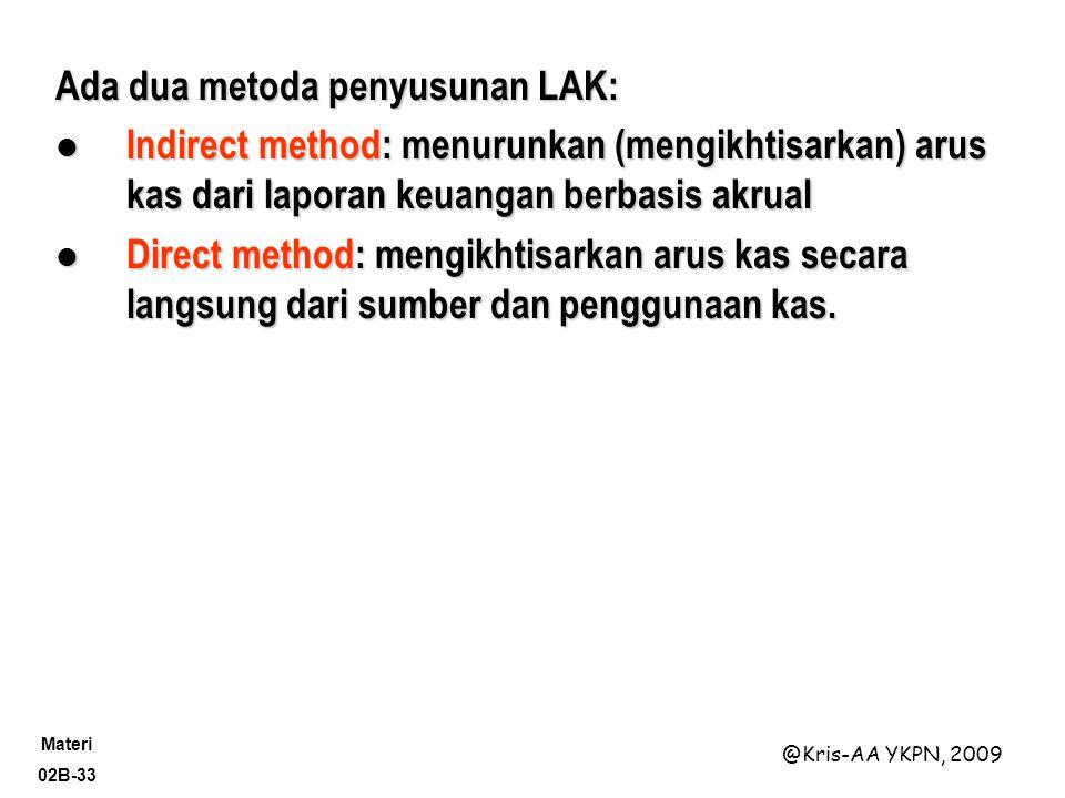 Materi 02B-33 @Kris-AA YKPN, 2009 Ada dua metoda penyusunan LAK: Indirect method: menurunkan (mengikhtisarkan) arus kas dari laporan keuangan berbasis akrual Indirect method: menurunkan (mengikhtisarkan) arus kas dari laporan keuangan berbasis akrual Direct method: mengikhtisarkan arus kas secara langsung dari sumber dan penggunaan kas.