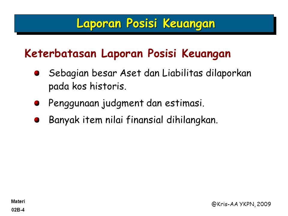 Materi 02B-4 @Kris-AA YKPN, 2009 Sebagian besar Aset dan Liabilitas dilaporkan pada kos historis.