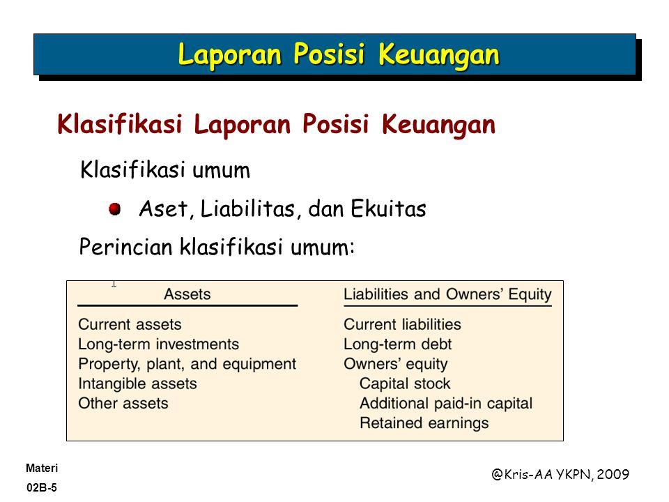 Materi 02B-5 @Kris-AA YKPN, 2009 Klasifikasi umum Aset, Liabilitas, dan Ekuitas Perincian klasifikasi umum: Klasifikasi Laporan Posisi Keuangan Laporan Posisi Keuangan
