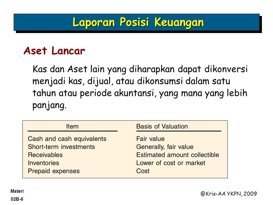 Materi 02B-17 @Kris-AA YKPN, 2009 Liabilitas yang diharapkan dilunasi dengan menggunakan Aset lancar atau menimbulkan utang lancar lain. Laporan Posisi Keuangan Liabilitas Lancar