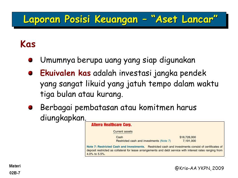 Materi 02B-18 @Kris-AA YKPN, 2009 Liabilitas yang akan dilunasi dalam waktu lebih dari satu tahun. Seluruh jaminan dan batasan harus diungkapkan.