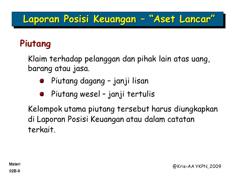Materi 02B-20 @Kris-AA YKPN, 2009 Ada 2 format Laporan Posisi Keuangan: Bentuk rekening Bentuk laporan Format Laporan Posisi Keuangan Accounting Trends and Techniques—2004 (New York: AICPA) indicates that all of the 600 companies surveyed use either the report form (506) or the account form (94), sometimes collectively referred to as the customary form.