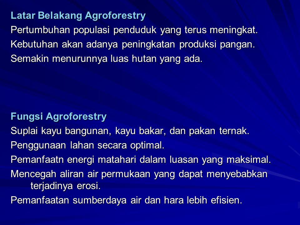 Berbagai hipotesis yang mendukung kegiatan agroforestry dikemukakan oleh beberapa pakar: Noordwijk and Dommergues (1990), Wilson (1990), Oeng et al.