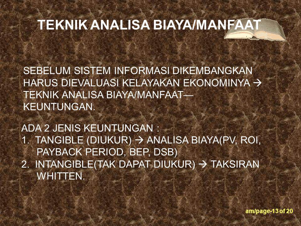 am/page-13 of 20 ADA 2 JENIS KEUNTUNGAN : 1. TANGIBLE (DIUKUR)  ANALISA BIAYA(PV, ROI, PAYBACK PERIOD, BEP, DSB) 2. INTANGIBLE(TAK DAPAT DIUKUR)  TA