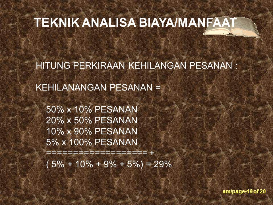 am/page-19 of 20 HITUNG PERKIRAAN KEHILANGAN PESANAN : KEHILANANGAN PESANAN = 50% x 10% PESANAN 20% x 50% PESANAN 10% x 90% PESANAN 5% x 100% PESANAN