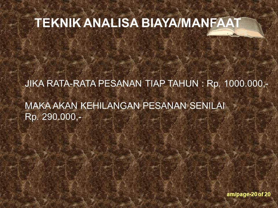 am/page-20 of 20 JIKA RATA-RATA PESANAN TIAP TAHUN : Rp. 1000.000,- MAKA AKAN KEHILANGAN PESANAN SENILAI Rp. 290.000,- TEKNIK ANALISA BIAYA/MANFAAT