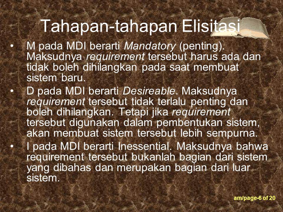 am/page-6 of 20 Tahapan-tahapan Elisitasi M pada MDI berarti Mandatory (penting). Maksudnya requirement tersebut harus ada dan tidak boleh dihilangkan