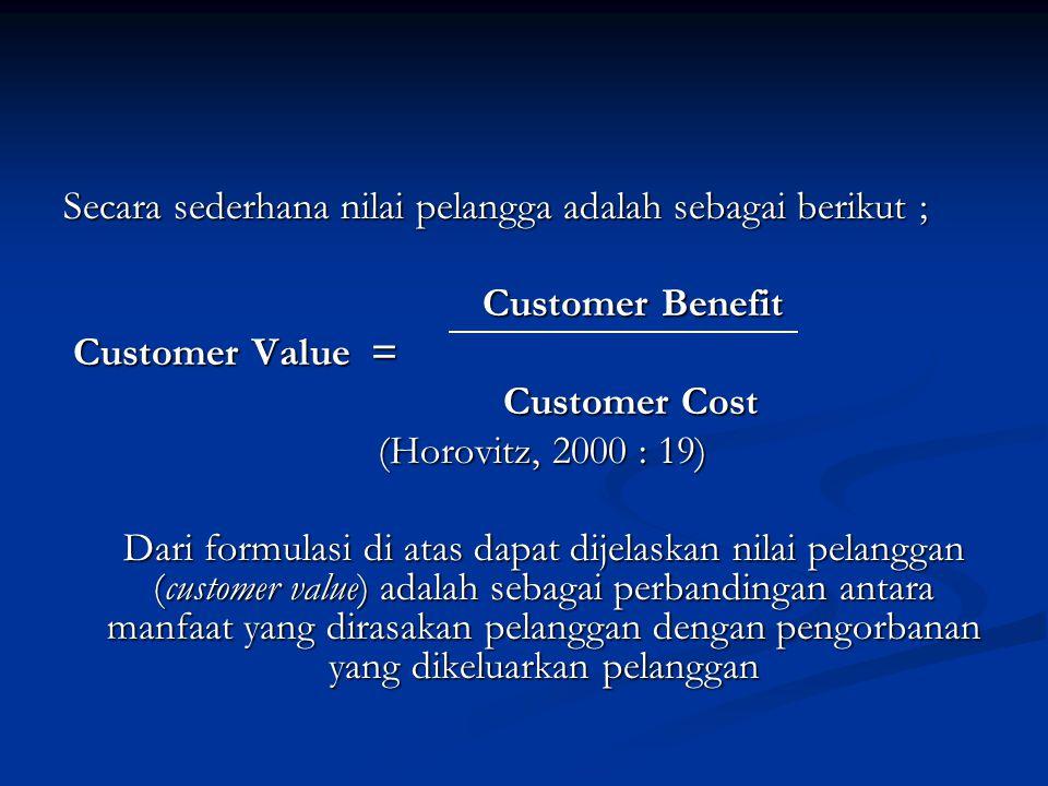 Secara sederhana nilai pelangga adalah sebagai berikut ; Customer Benefit Customer Value = Customer Value = Customer Cost Customer Cost (Horovitz, 200