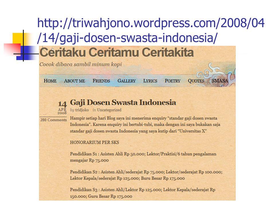 http://triwahjono.wordpress.com/2008/04 /14/gaji-dosen-swasta-indonesia/