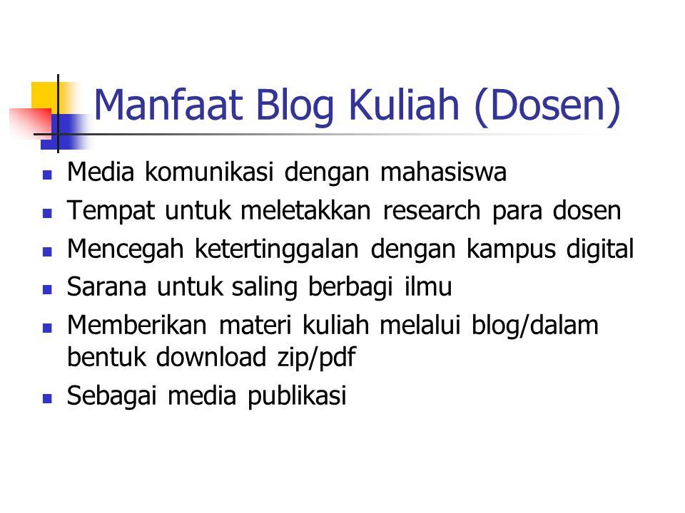Manfaat Blog Kuliah (Dosen) Media komunikasi dengan mahasiswa Tempat untuk meletakkan research para dosen Mencegah ketertinggalan dengan kampus digital Sarana untuk saling berbagi ilmu Memberikan materi kuliah melalui blog/dalam bentuk download zip/pdf Sebagai media publikasi