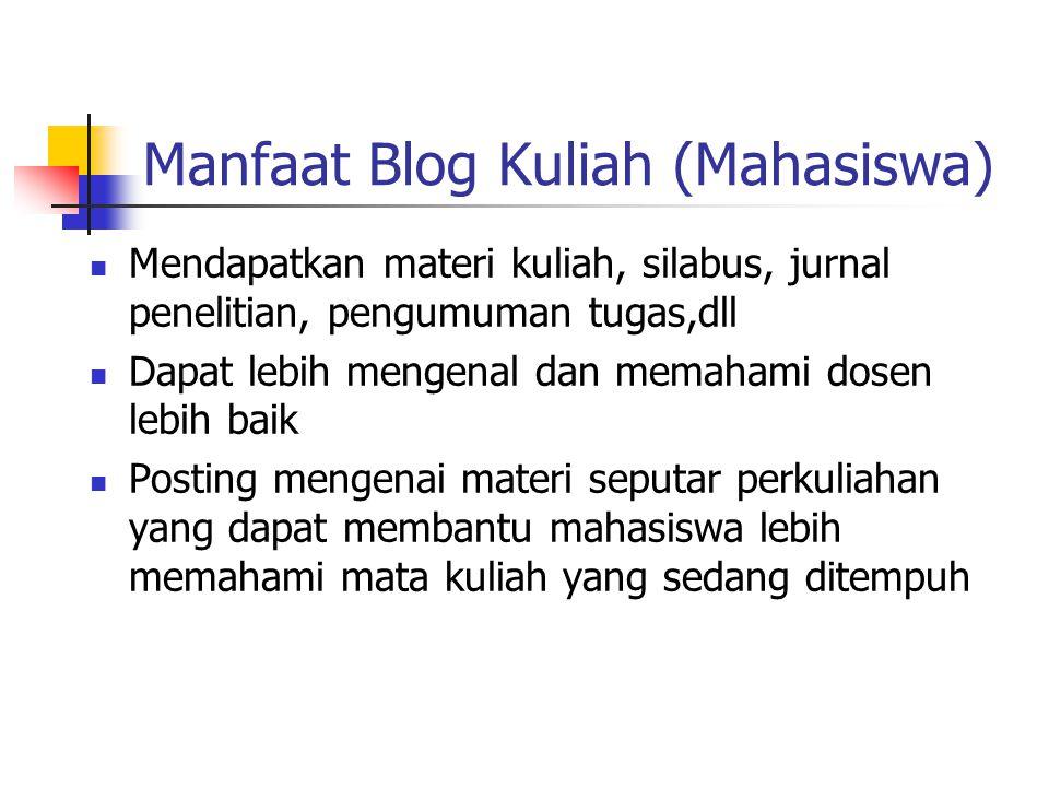 Manfaat Blog Kuliah (Mahasiswa) Mendapatkan materi kuliah, silabus, jurnal penelitian, pengumuman tugas,dll Dapat lebih mengenal dan memahami dosen le