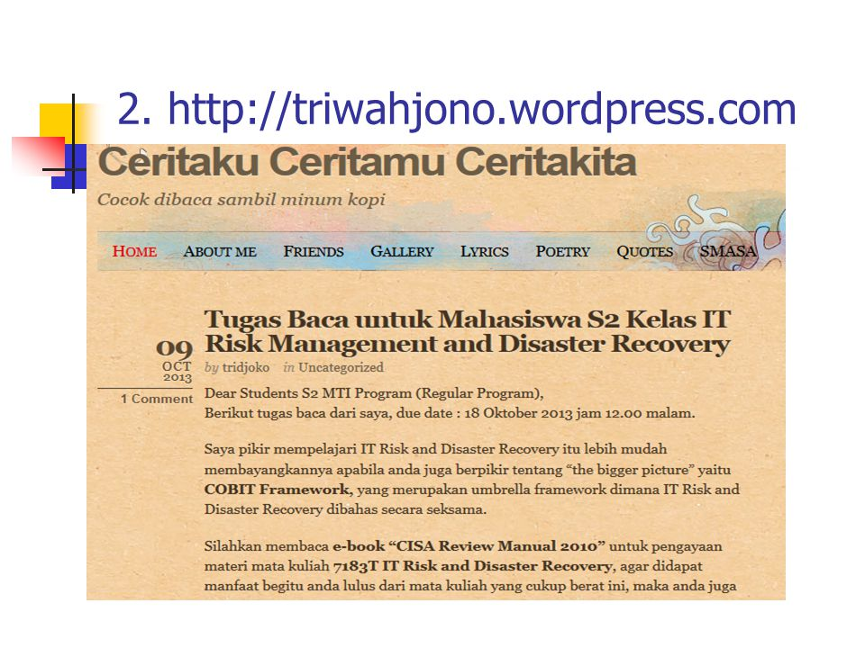 2. http://triwahjono.wordpress.com