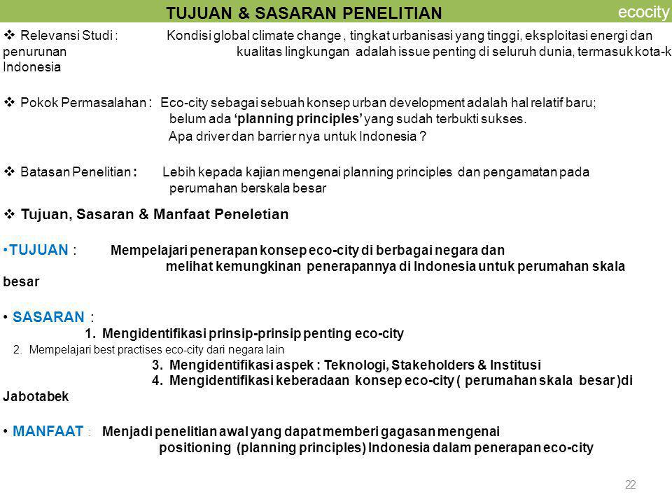 3 ecocity Theoritical Eco-city Concept International Best Practises Basic Applied eco-city systems General Principles Refference Model for Indonesia's Eco- city Model Application on Large Scale Housing Development StudiyCa 3 Eco-city principles Motivation to implement eco- city Modified Systems as recommendation Evaluation Fact Findings : Developers in Jabotabek Bagan Alur Pemikiran Studi Case 2 Study Case 1 Literatur Study In depth interview