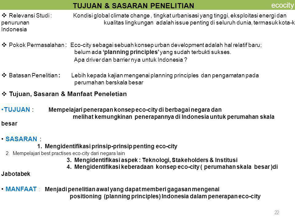 2 ecocity  Tujuan, Sasaran & Manfaat Peneletian TUJUAN : Mempelajari penerapan konsep eco-city di berbagai negara dan melihat kemungkinan penerapanny