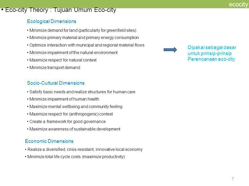 8 ecocity SOME SUSTAINABLE CITY (ECO-CITY) PRINCIPLES HANNOVER MELBOURNE C.A.S.E.