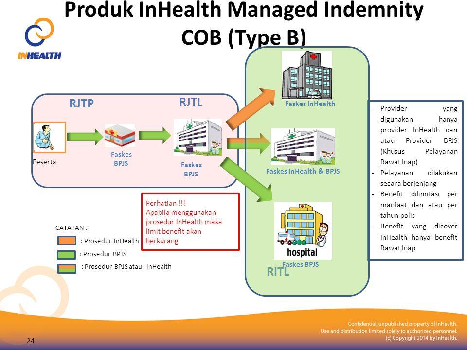 Produk InHealth Managed Indemnity COB (Type B) RJTL Peserta Faskes BPJS RJTP -Provider yang digunakan hanya provider InHealth dan atau Provider BPJS (