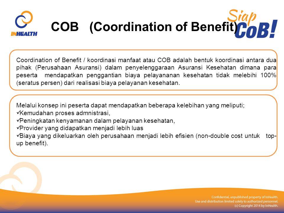 COB (Coordination of Benefit) Coordination of Benefit / koordinasi manfaat atau COB adalah bentuk koordinasi antara dua pihak (Perusahaan Asuransi) da