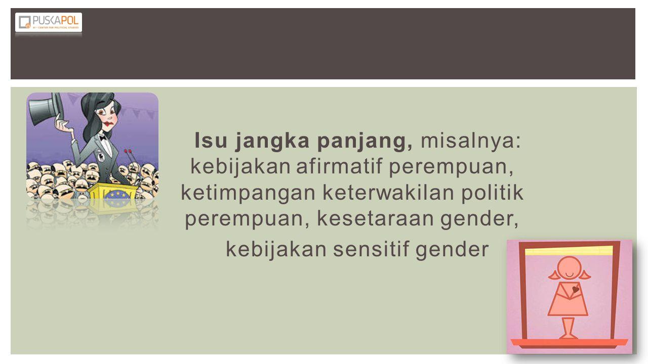 Isu jangka panjang, misalnya: kebijakan afirmatif perempuan, ketimpangan keterwakilan politik perempuan, kesetaraan gender, kebijakan sensitif gender