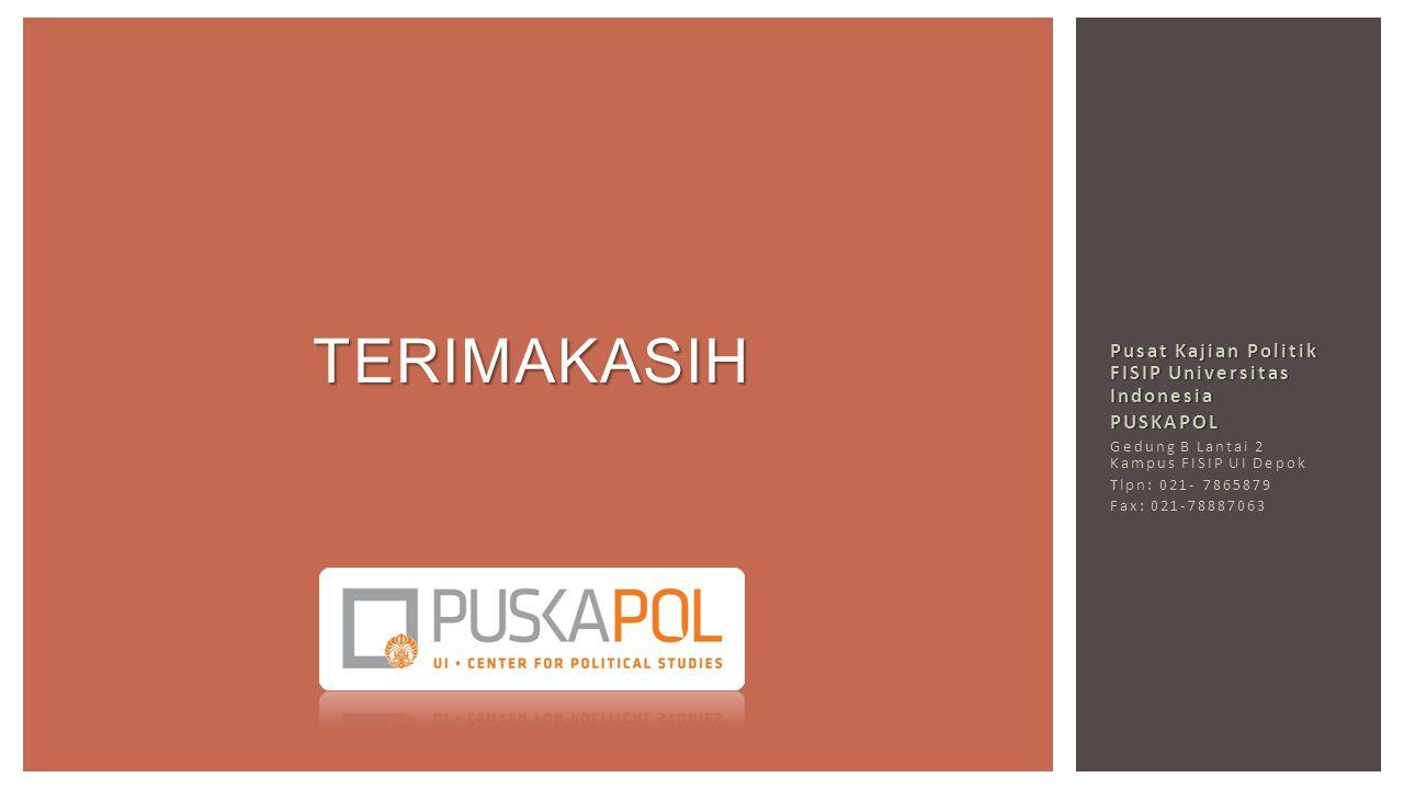 Pusat Kajian Politik FISIP Universitas Indonesia PUSKAPOL Gedung B Lantai 2 Kampus FISIP UI Depok Tlpn: 021- 7865879 Fax: 021-78887063 TERIMAKASIH