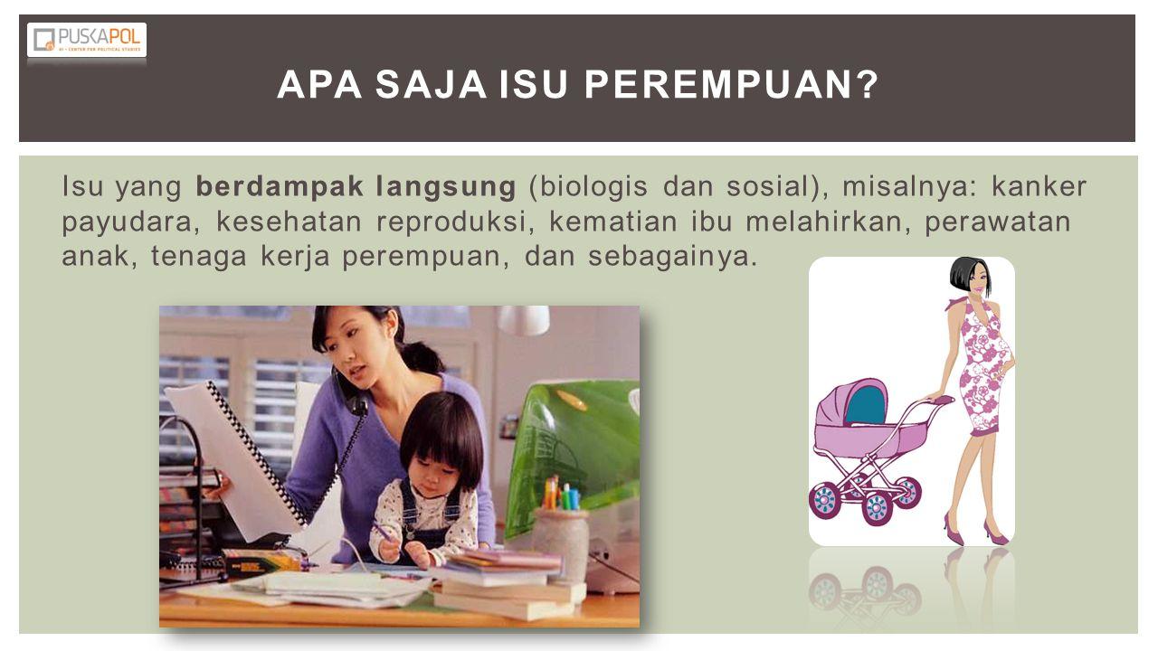 Isu yang berdampak langsung (biologis dan sosial), misalnya: kanker payudara, kesehatan reproduksi, kematian ibu melahirkan, perawatan anak, tenaga ke