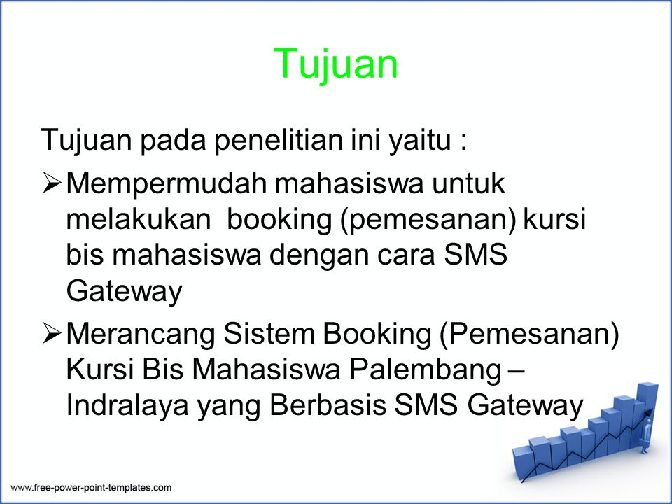 Tujuan Tujuan pada penelitian ini yaitu :  Mempermudah mahasiswa untuk melakukan booking (pemesanan) kursi bis mahasiswa dengan cara SMS Gateway  Merancang Sistem Booking (Pemesanan) Kursi Bis Mahasiswa Palembang – Indralaya yang Berbasis SMS Gateway