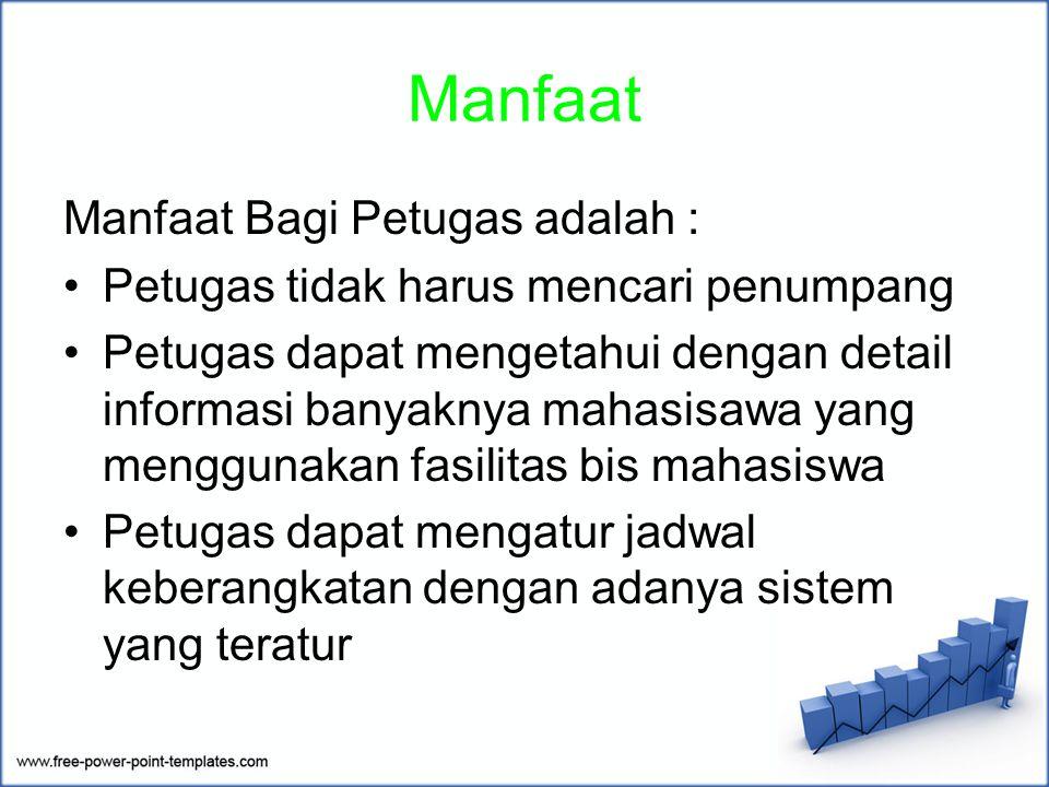 Manfaat Manfaat Bagi Petugas adalah : Petugas tidak harus mencari penumpang Petugas dapat mengetahui dengan detail informasi banyaknya mahasisawa yang